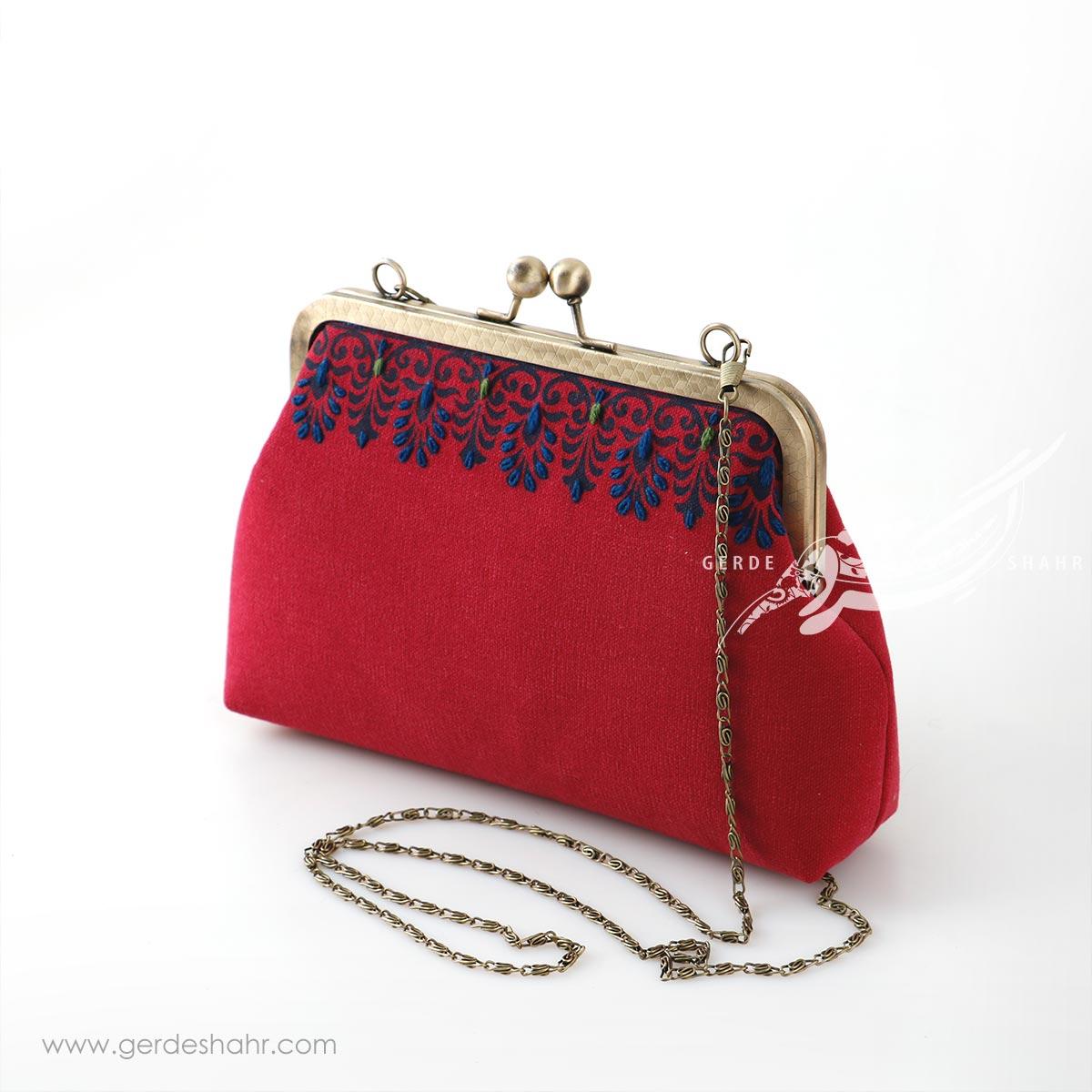 کیف بنددار قرمز قلمکار گندم راژانه کیف و کفش