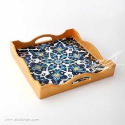 سینی مربع 30.30 طرح گل آبی آوش محصولات