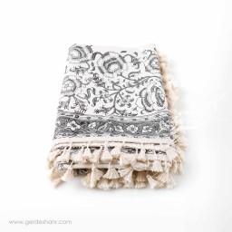 رومیزی نقش گلدانی خاکستری بومیکا