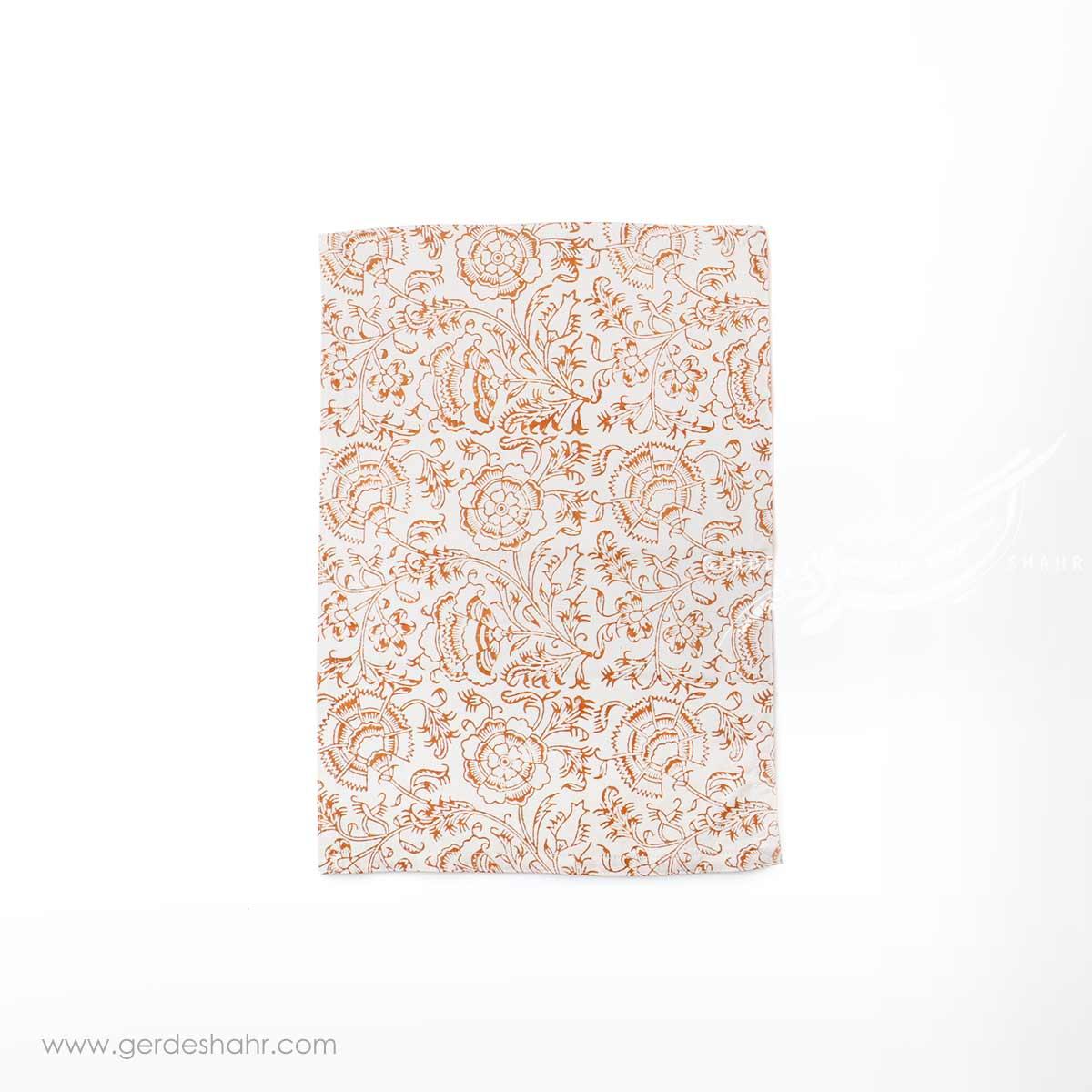 دستمال سفره نقش گلدانی نارنجی بومیکا