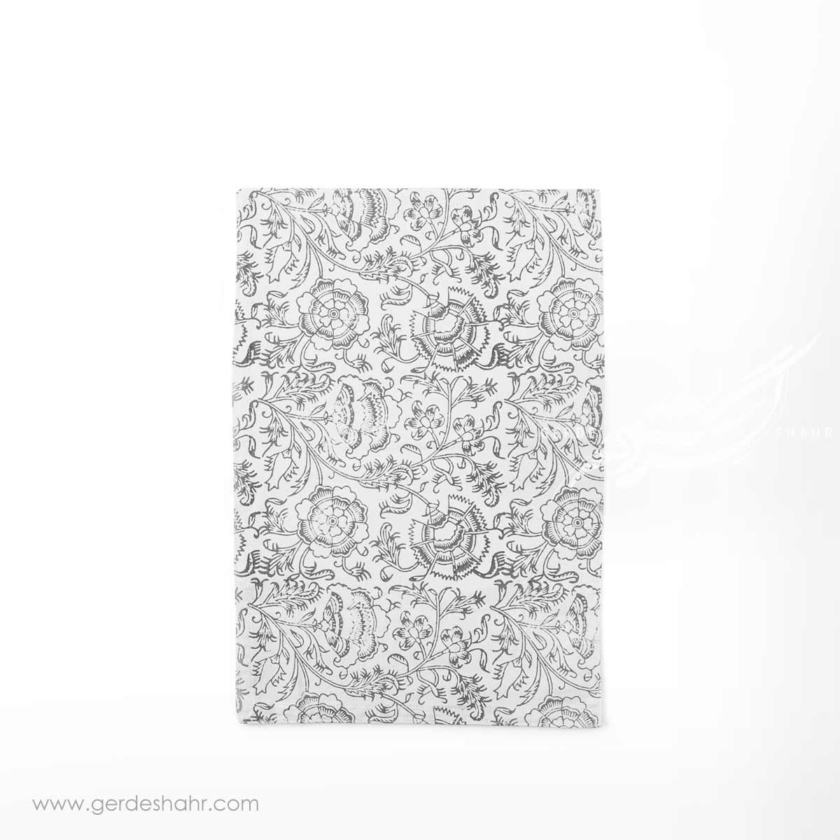 دستمال سفره نقش گلدانی خاکستری بومیکا - bhoomika