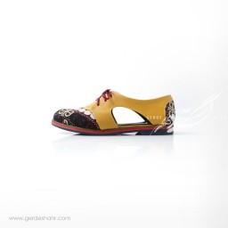 کفش دست دوز زرد سوزندوزی ترکمن سایز 38 چاوان گنجه رخت