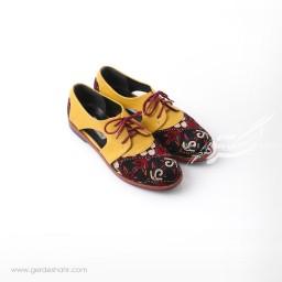 کفش دست دوز زرد سوزندوزی ترکمن سایز 39 چاوان گنجه رخت