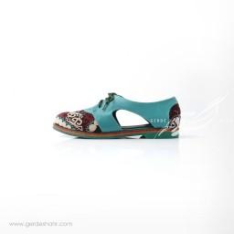 کفش دست دوز آبی سوزندوزی ترکمن سایز 38 چاوان گنجه رخت