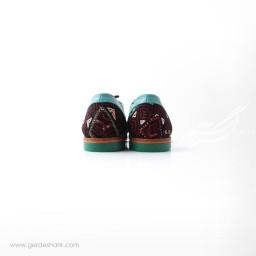 کفش دست دوز آبی سوزندوزی ترکمن سایز 39 چاوان گنجه رخت