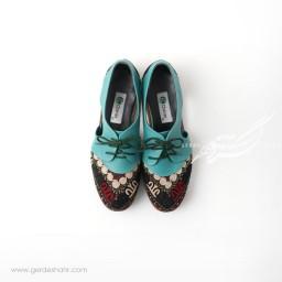 کفش دست دوز آبی سوزندوزی سایز 39 چاوان گنجه رخت