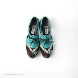 کفش دست دوز آبی سوزندوزی ترکمن سایز 40 چاوان گنجه رخت