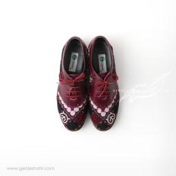 کفش دست دوز زرشکی سوزندوزی سایز 38 چاوان گنجه رخت
