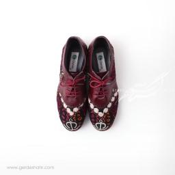 کفش دست دوز زرشکی سوزندوزی 2 سایز 38 چاوان گنجه رخت