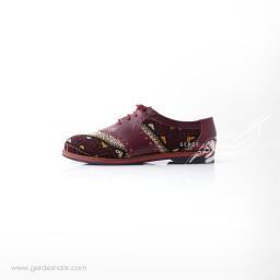 کفش دست دوز زرشکی سوزندوزی سایز 39 چاوان گنجه رخت