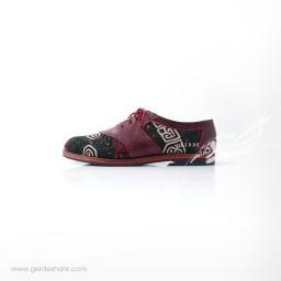 کفش دست دوز زرشکی سوزندوزی ترکمن سایز 39 چاوان گنجه رخت