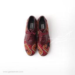 کفش دست دوز زرشکی سوزندوزی سایز 40 چاوان گنجه رخت