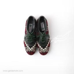 کفش دست دوز سبز یشمی تیره سوزندوزی ترکمن سایز 38 چاوان گنجه رخت