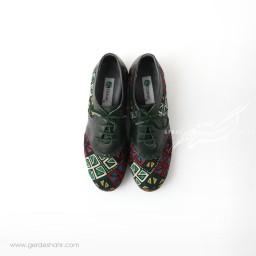 کفش دست دوز سبز یشمی تیره سوزندوزی سایز 39 چاوان گنجه رخت