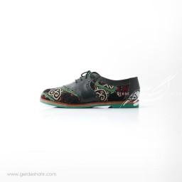 کفش دست دوز سبز یشمی تیره سوزندوزی ترکمن سایز 39 چاوان گنجه رخت