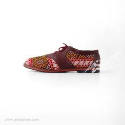 کفش دست دوز زرشکی سوزندوزی ترکمن 2 سایز 40 چاوان گنجه رخت