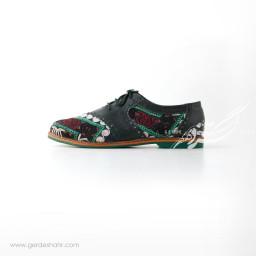 کفش دست دوز سبز یشمی تیره سوزندوزی ترکمن 2 سایز 40 چاوان گنجه رخت