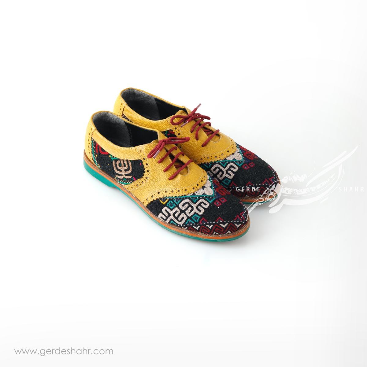 کفش دست دوز زرد سوزندوزی ترکمن 2 سایز 38 چاوان گنجه رخت