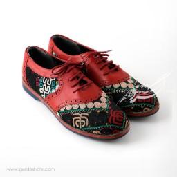 کفش دست دوز قرمز سوزندوزی ترکمن سایز 38 چاوان گنجه رخت