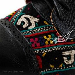 کفش چرمی دست دوز سوزندوزی مشکی سایز 37 چاوان گنجه رخت