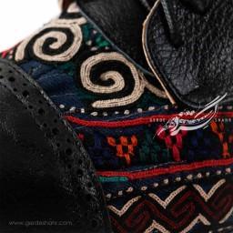 کفش چرمی دست دوز سوزندوزی مشکی سایز 38 چاوان گنجه رخت