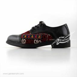 کفش چرمی دست دوز سوزندوزی مشکی سایز 39 چاوان گنجه رخت