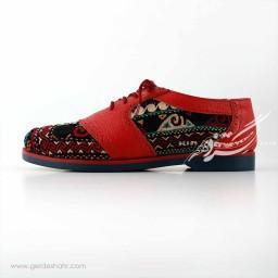 کفش چرمی دست دوز سوزندوزی قرمز سایز 37 چاوان گنجه رخت