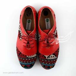 کفش چرمی دست دوز سوزندوزی قرمز سایز 39 چاوان گنجه رخت