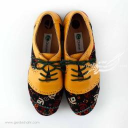 کفش چرمی دست دوز  سوزندوزی زرد سایز 37 چاوان گنجه رخت