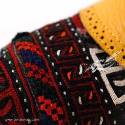 کفش چرمی دست دوز سوزندوزی زرد سایز 38 چاوان گنجه رخت