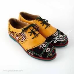 کفش چرمی دست دوز سوزندوزی زرد سایز 39 چاوان گنجه رخت