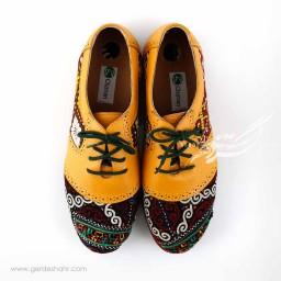 کفش چرمی دست دوز سوزندوزی زرد سایز 40 چاوان گنجه رخت
