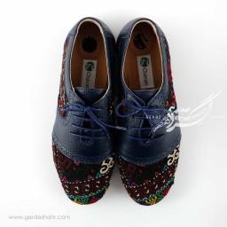 کفش چرمی دست دوز سوزندوزی سورمه ای سایز 38 چاوان گنجه رخت