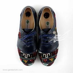 کفش چرمی دست دوز سوزندوزی سورمه ای سایز 39 چاوان گنجه رخت