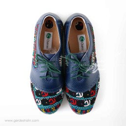 کفش زنانه چرمی دست دوز سوزندوزی سورمه ای سایز 37 چاوان -  chavan