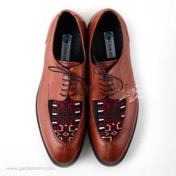 کفش مردانه چرمی دست دوز سوزندوزی عسلی سایز 43 چاوان - chavan