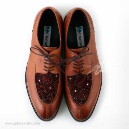 کفش مردانه چرمی دست دوز سوزندوزی عسلی سایز 41 چاوان - chavan