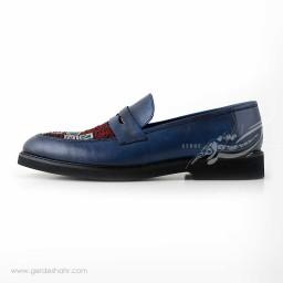کفش کالج مردانه چرمی دست دوز سوزندوزی سورمه ای سایز 43 چاوان -  chavan