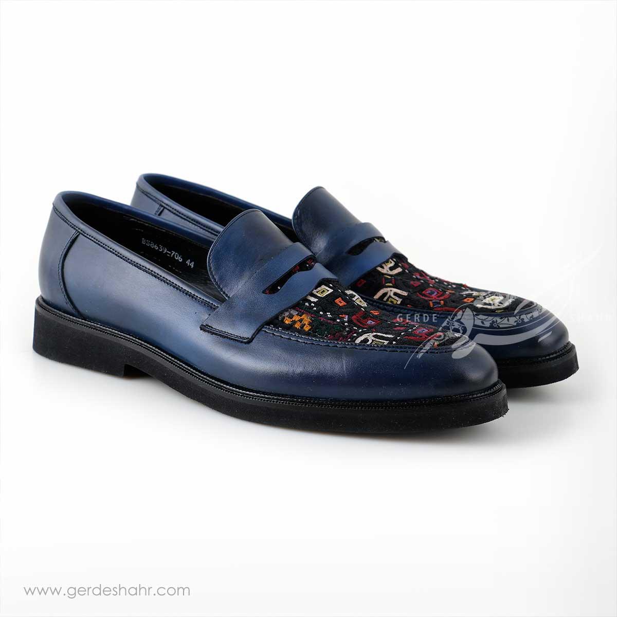 کفش کالج مردانه چرمی دست دوز سوزندوزی سورمه ای سایز 44 چاوان -  chavan