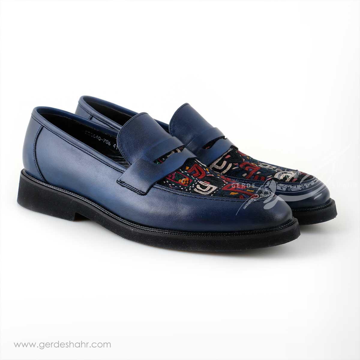 کفش کالج مردانه چرمی دست دوز سوزندوزی سورمه ای سایز 41 چاوان -  chavan