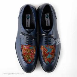 کفش مردانه چرمی دست دوز سوزندوزی سورمه ای سایز 43 چاوان -  chavan