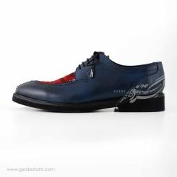 کفش مردانه چرمی دست دوز سوزندوزی سورمه ای سایز 40 چاوان -  chavan