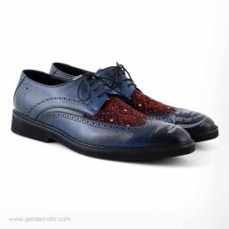 کفش مردانه چرمی دست دوز سوزندوزی سورمه ای سایز 44 چاوان -  chavan