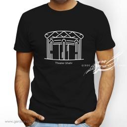 تیشرت مشکی مردانه تئاتر شهر را دوست دارم دوز گنجه رخت