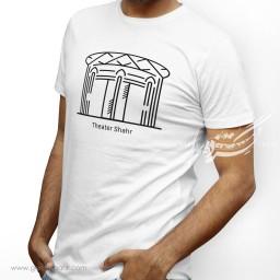 تیشرت سفید مردانه تئاتر شهر را دوست دارم دوز گنجه رخت