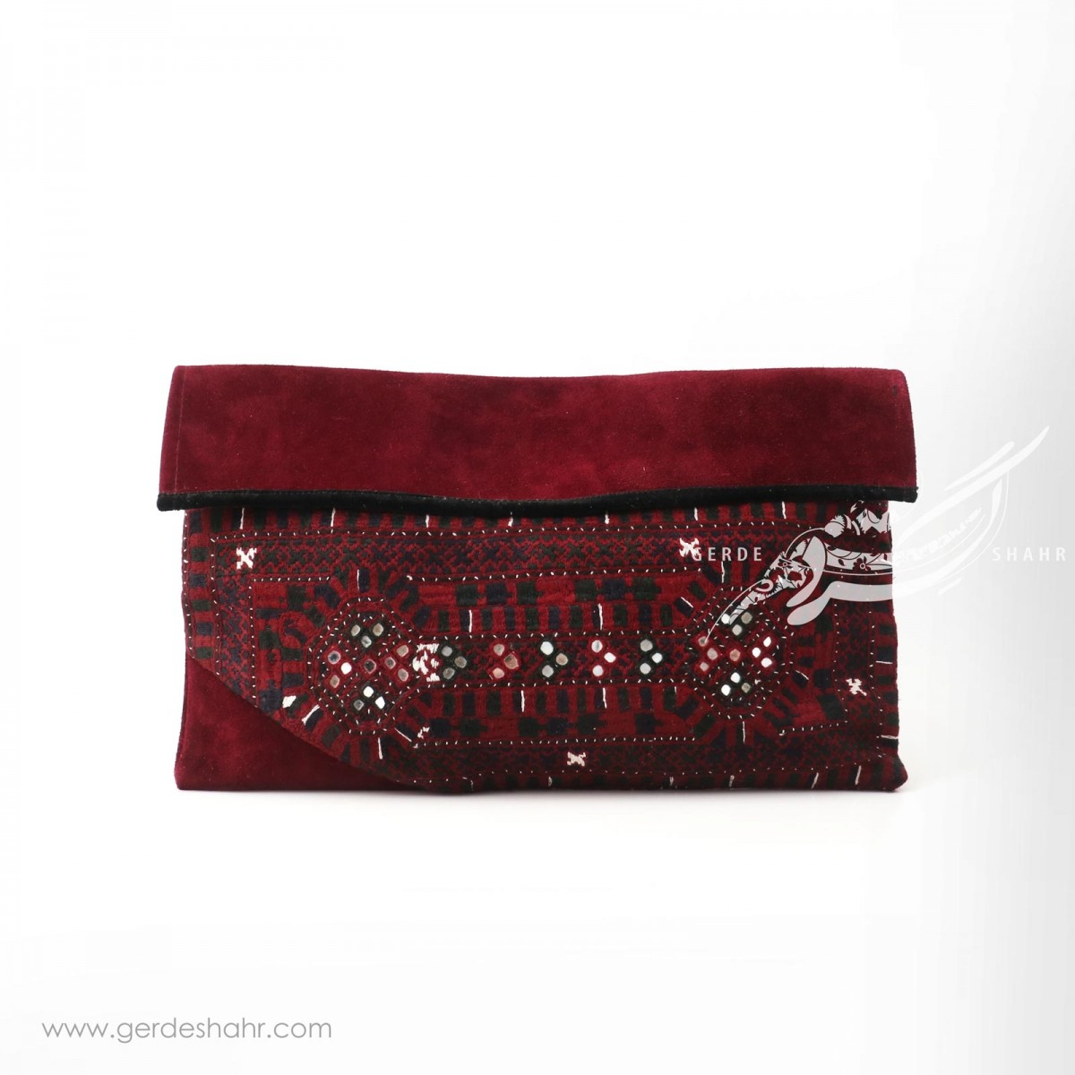 کیف چرم زرشکی و سوزندوری ترکمن دوز گنجه رخت