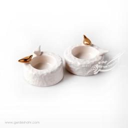 شمعدان سرامیکی سفید طلایی فرنگار محصولات