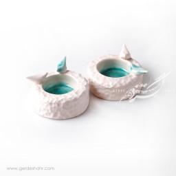 شمعدان سرامیکی سفید فیروزه ای فرنگار محصولات