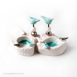 شمعدان سرامیکی سفید فیروزه ای طرح ۲ فرنگار محصولات