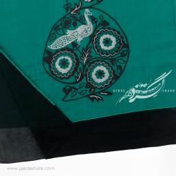 شال سبز آبی تیره نقش طاووس عرض 50 گدار گنجه رخت